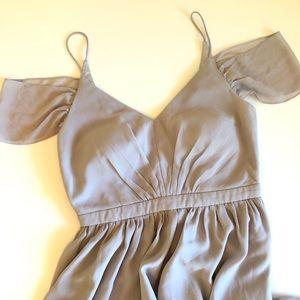 LULUS Gray Maxi VNeck Formal Gown Dress Size L